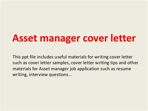 cover letter asset management asset manager cover letter