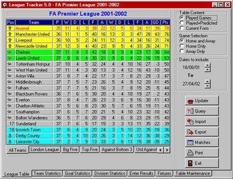soccer league tables carling premiership league table