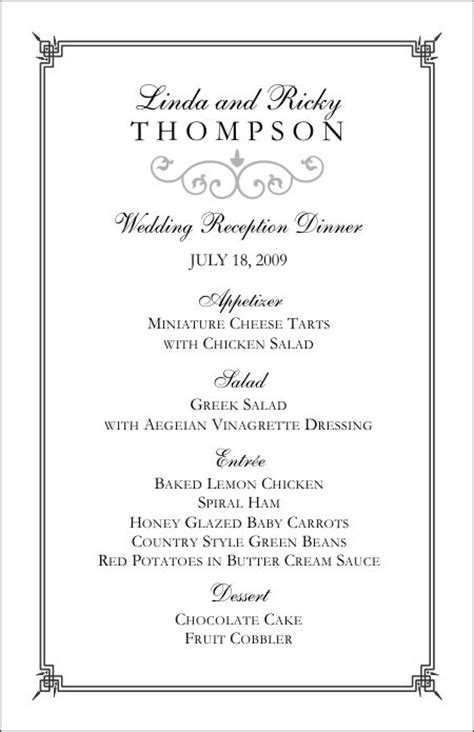 wedding menu design templates free wedding menu template free