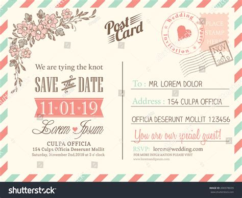 postcard invitation templates free vintage postcard background vector template wedding stock