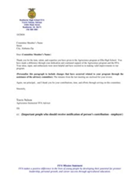 Thank You Letter For Committee Sle Thank You Letter To Advisory Committee Members 1 Assistance Of The Advisory Committee