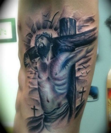 crucifix tattoo design for men on side http heledis