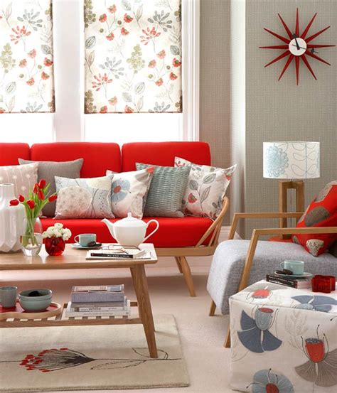Floral Patterns In A Mid Century Retro Style Living Room Floral Living Room Furniture
