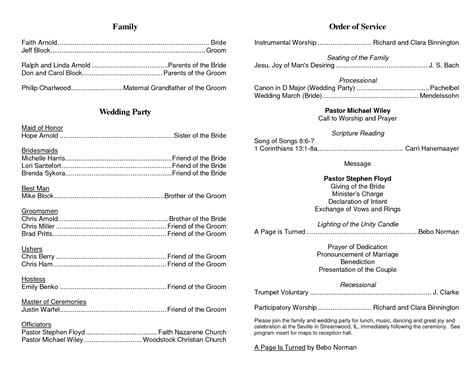 christian wedding order of service template best photos of order of service template funeral