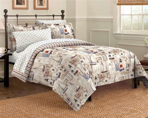 Lighthouse Bedding Sets Nautical Bedding King Comforter Set Bed Bag Blue Sailboat Lighthouse