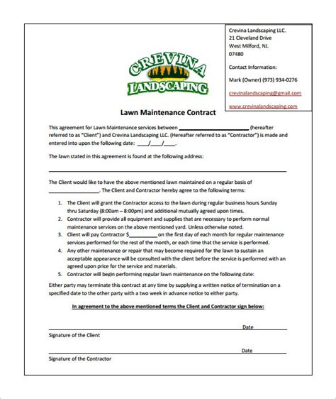 commercial lawn maintenance contract template templates