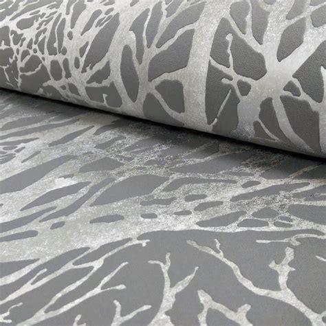 light grey wallpaper trees as creation forest pattern wood tree metallic pearl motif