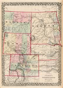 colorado wyoming map map of montana wyoming and colorado