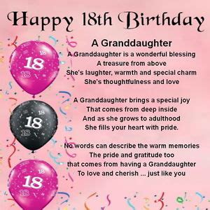 personalised coaster granddaughter poem 18th birthday