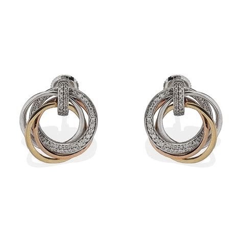 Two Tone Engagement Rings diamond earrings with russian ring design in 14k three