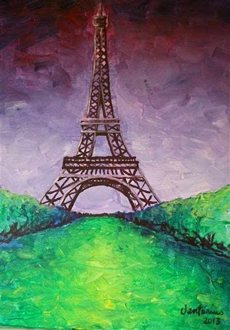 items similar to eiffel tower acrylic on canvas painting on etsy