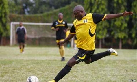 Football Field In Backyard Burundi President Playing Football While His People Are