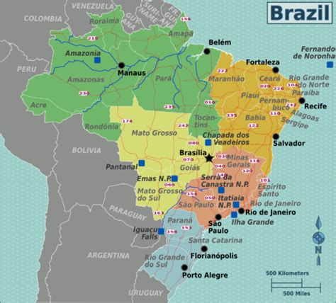 brazil map with cities brazil travel guide wikitravel