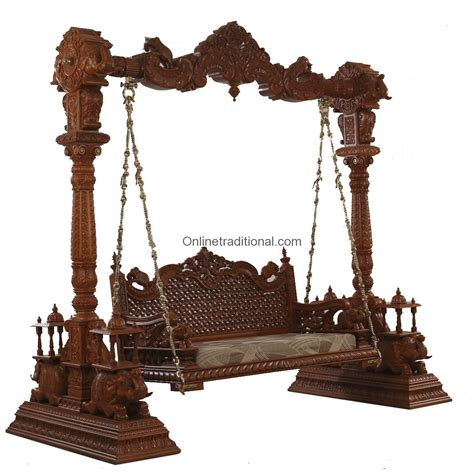 teak wood swing antique look and traditional double seated elephant swing