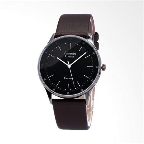 jual alexandre christie kulit jam tangan pria coklat silver 8488 harga