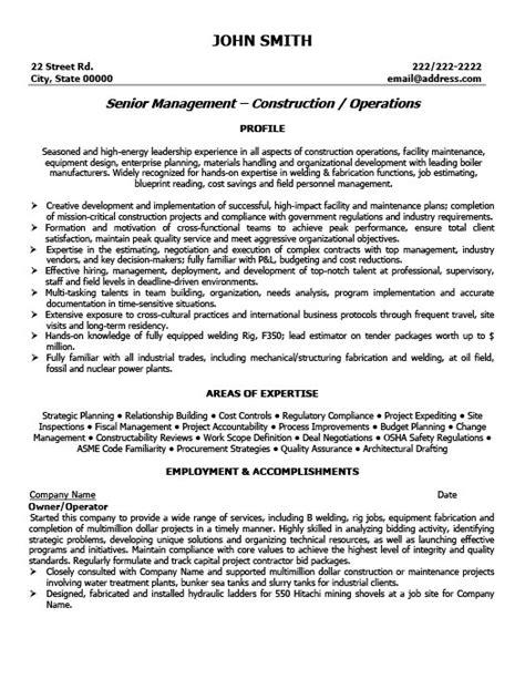 owner or operator resume template premium resume sles