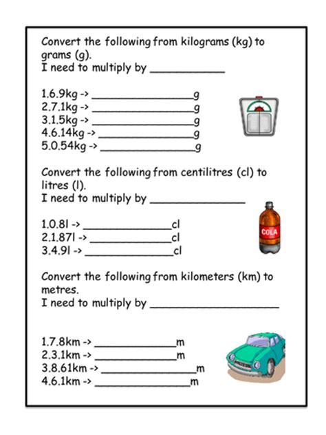 how to convert liter to kilogram conversion worksheet kg g cl l km m by amygaunt uk