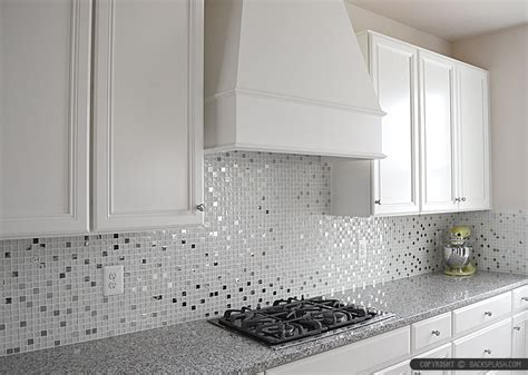 White Kitchen With Backsplash White Glass Metal Backsplash Tile Pearl Granite