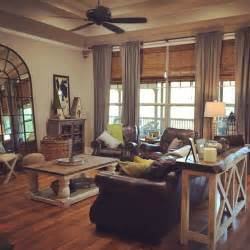 farmhouse livingroom warm country cottage living room grey curtains coffee