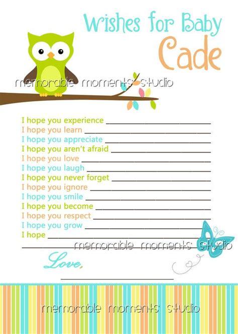 printable wish list owl baby boy shower by