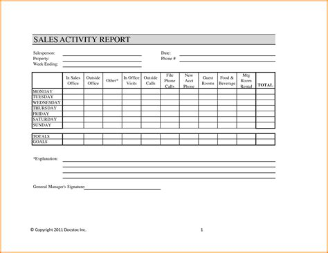 daily sales call report template free weekly sales report template authorization letter pdf