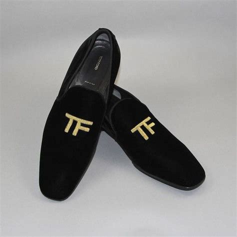 tom ford black velvet quot tf quot gold embroidery mens shoes