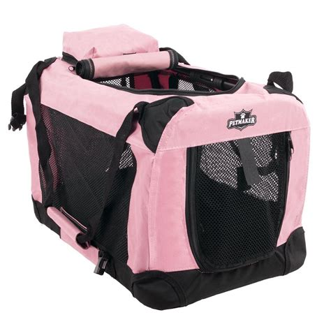 pink crate petmaker pink portable pet crate with soft sides x small m320007 the home depot