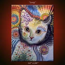 modern wall art red original abstract painting modern animals cats cat art  x