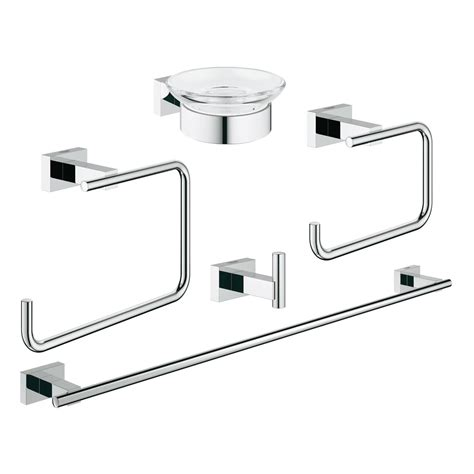 grohe essentials cube bathroom accessories set 5in1 40758
