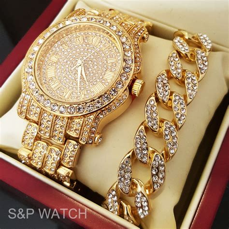 Men Hip Hop Iced Out Gold Tone Simulated Diamond WATCH