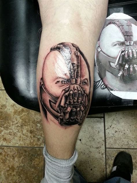precision tattoo portrait of bane from batman done by rebellious tony at
