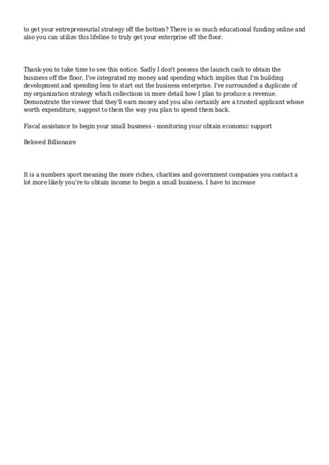 Letter Requesting Financial Support From Employer Financial Assistance To Start A Small Business 2012 Business Letter