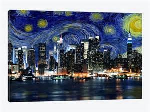 New york starry night skyline by icanvas 1 piece canvas art print