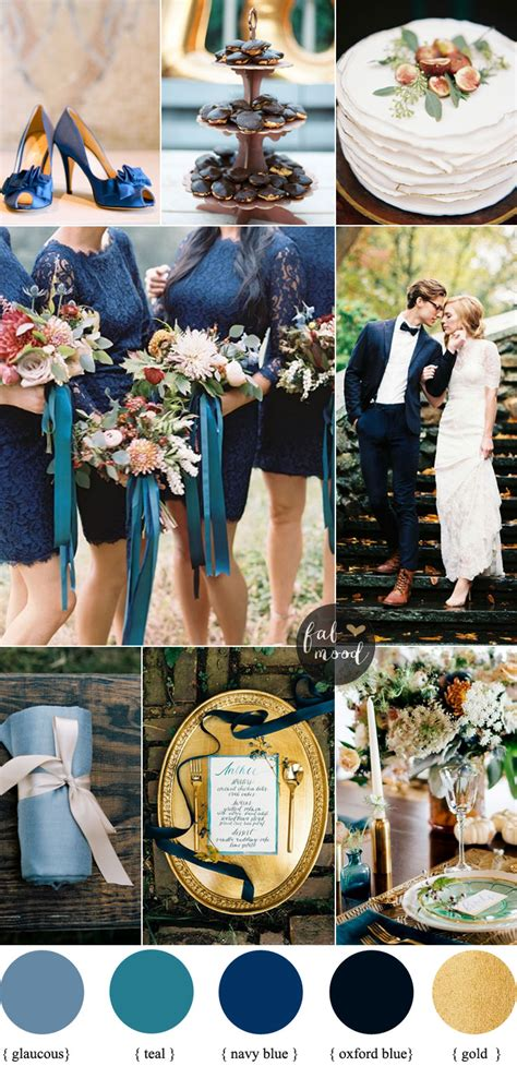 navy blue wedding color schemes fall wedding colors with blue and teal color palette