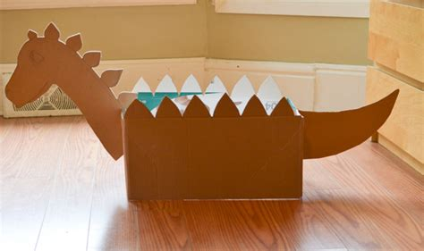 How Do You Make A Box Out Of Paper - diy cardboard box dinosaur