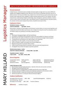 Logistics Manager Resume logistics manager cv template exle description supply chain manager delivery of goods c