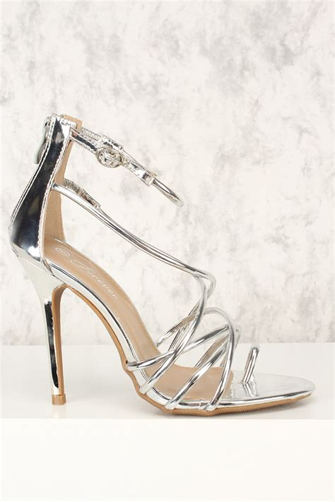 silver strappy high heels silver strappy open toe high heels patent