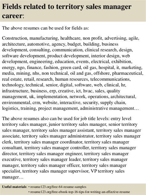 territory sales manager resume top 8 territory sales manager resume sles