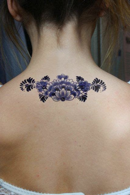 dutch tattoos designs large floral delfts blauw temporary back