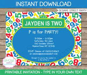 sesame street party invitations template birthday party