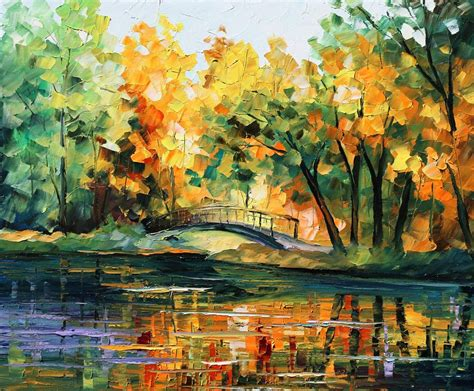 spring paint spring bridge palette knife oil painting on canvas by