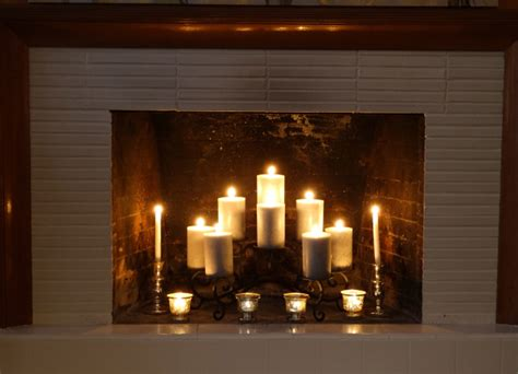 candles in fireplace fireplace rev chagne shimmer