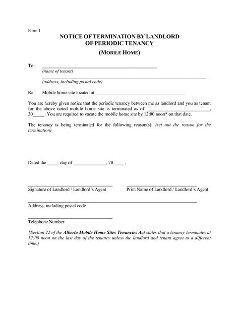 Exle Letter Ending Tenancy Agreement Landlord Notice To End Tenancy Letter Alberta Docoments