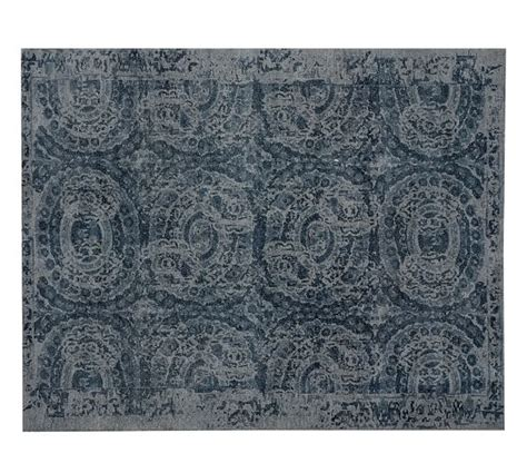 Pottery Barn Blue Rug Bosworth Printed Wool Rug Blue Pottery Barn