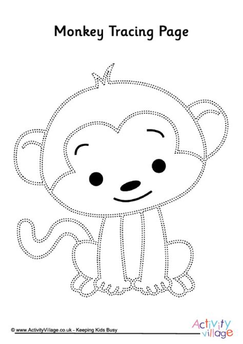 mod monkey coloring pages monkey tracing page pre k and kindergarten printables