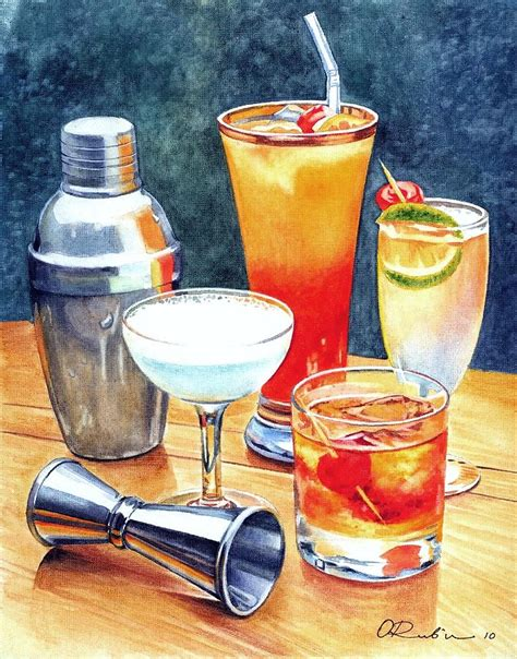 watercolor cocktail cocktails painting by olga tereshchuk