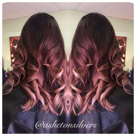brunette to rose gold hair rose gold ombre color melt pastel pink by asheton