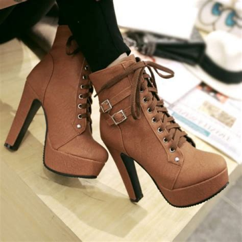 stylish high heel boots shoes lace up brown high heels trendy s high