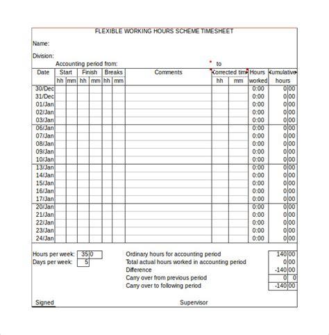 11 Sle Work Timesheet Calculators Sle Templates Work Timesheet Template