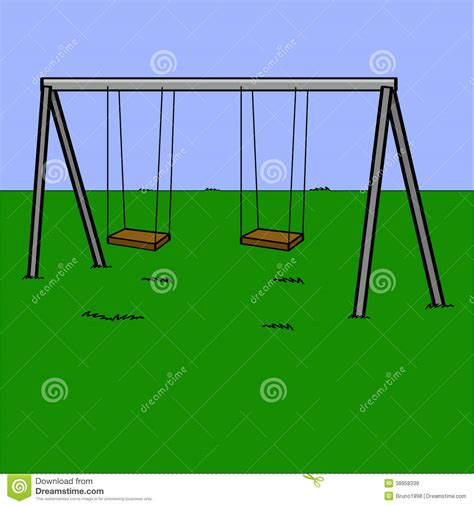 swing set cartoon playground swings stock vector image 38958339